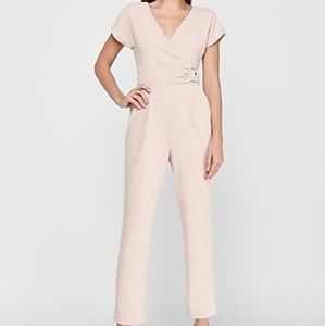EXPRESS Short Sleeve Wrap Front O Ring Jumpsuit